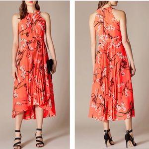 Karen Millen Pleated Floral Midi Dress Size US 4